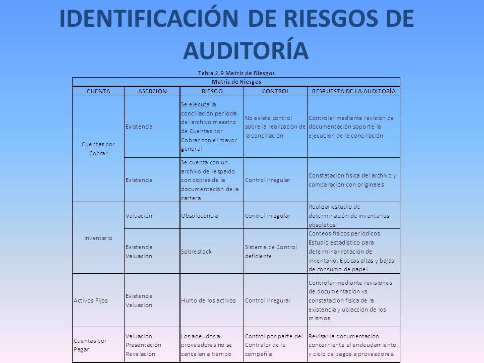 IDENTIFICACIÓN DE RIESGOS DE AUDITORÍA