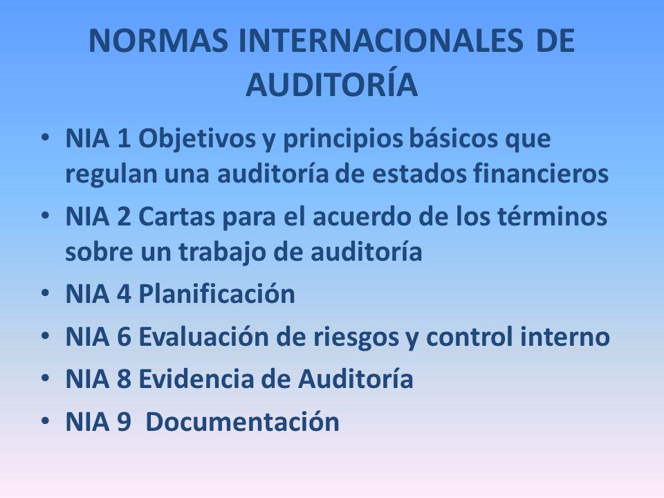 NORMAS INTERNACIONALES DE AUDITORÍA NIA 1 Objetivos y principios básicos que regulan una auditoría de estados financieros NIA 2 Cartas para el acuerdo