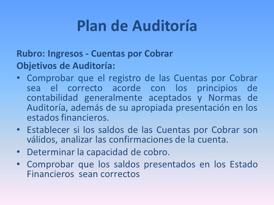 Rubro: Ingresos - Cuentas por Cobrar Objetivos de Auditoría: Comprobar que el registro de las Cuentas por Cobrar sea el correcto acorde con los princi