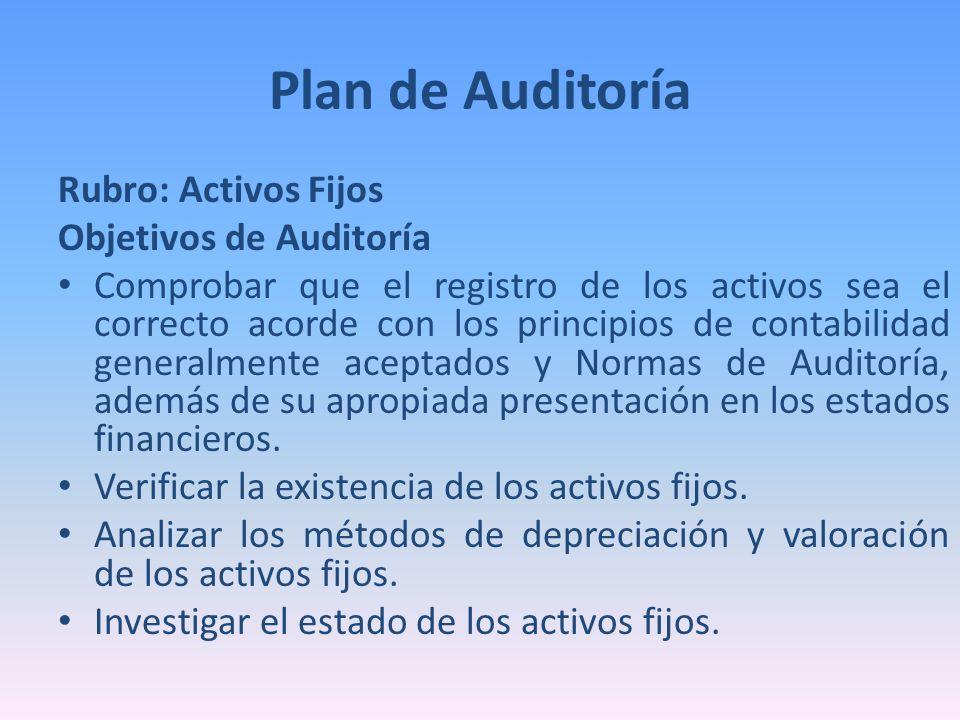 Rubro: Activos Fijos Objetivos de Auditoría Comprobar que el registro de los activos sea el correcto acorde con los principios de contabilidad general