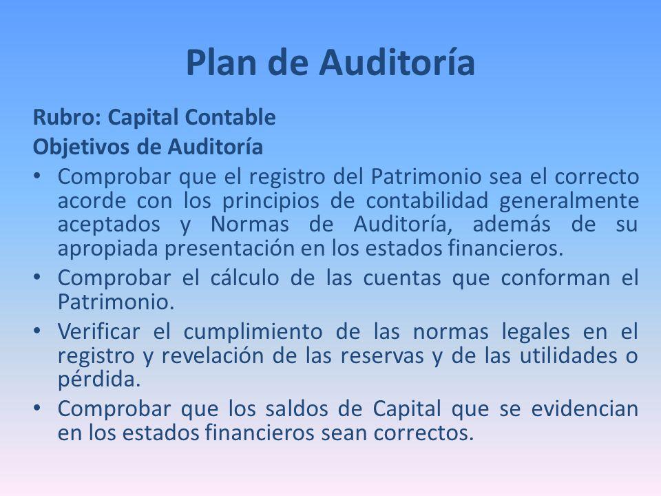 Rubro: Capital Contable Objetivos de Auditoría Comprobar que el registro del Patrimonio sea el correcto acorde con los principios de contabilidad gene