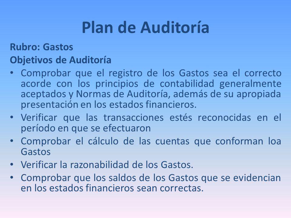 Rubro: Gastos Objetivos de Auditoría Comprobar que el registro de los Gastos sea el correcto acorde con los principios de contabilidad generalmente ac