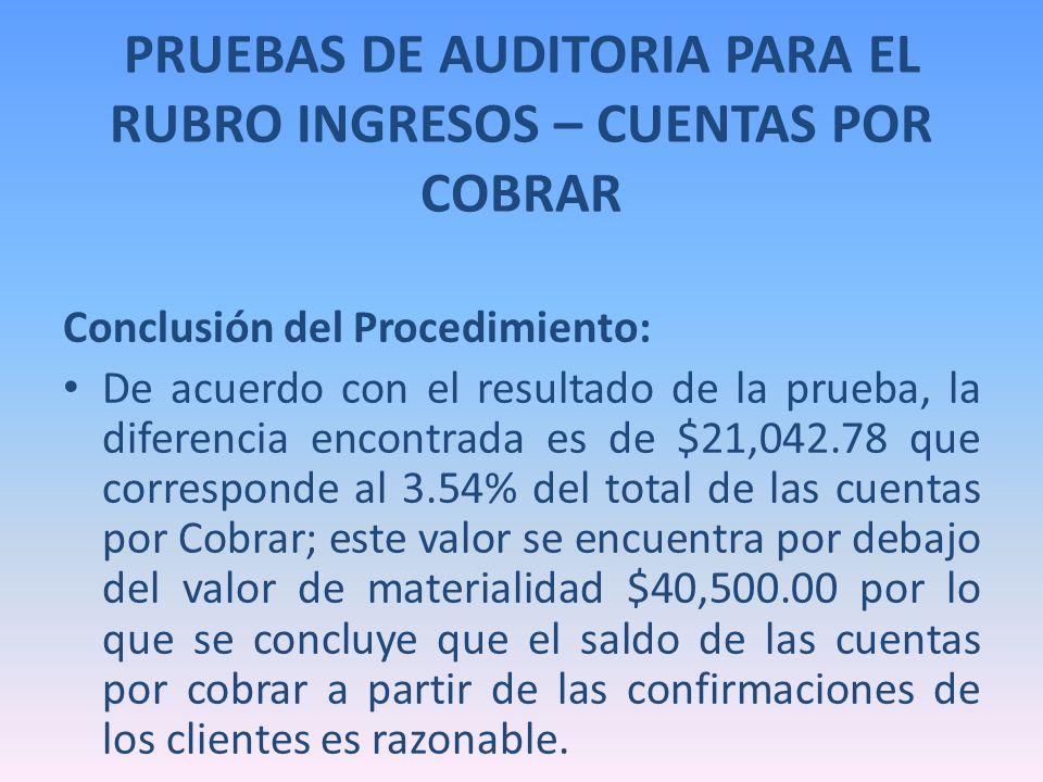 PRUEBAS DE AUDITORIA PARA EL RUBRO INGRESOS – CUENTAS POR COBRAR Conclusión del Procedimiento: De acuerdo con el resultado de la prueba, la diferencia