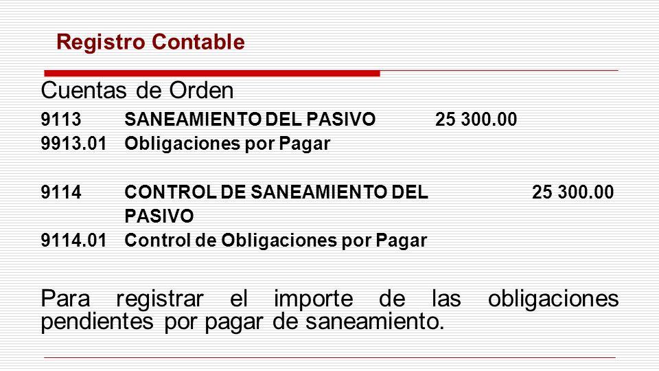 Cuentas de Orden 9113SANEAMIENTO DEL PASIVO25 300.00 9913.01Obligaciones por Pagar 9114CONTROL DE SANEAMIENTO DEL25 300.00 PASIVO 9114.01Control de Ob