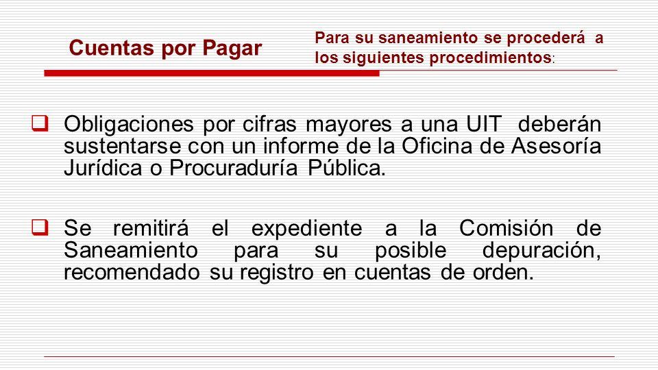 Cuentas por Pagar Obligaciones por cifras mayores a una UIT deberán sustentarse con un informe de la Oficina de Asesoría Jurídica o Procuraduría Públi