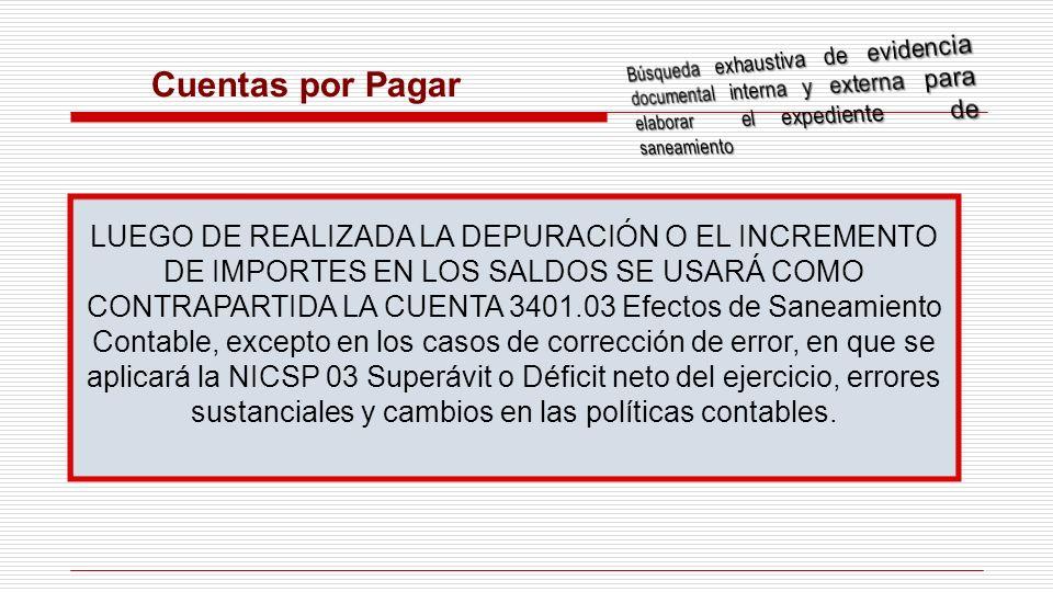 Cuentas por Pagar LUEGO DE REALIZADA LA DEPURACIÓN O EL INCREMENTO DE IMPORTES EN LOS SALDOS SE USARÁ COMO CONTRAPARTIDA LA CUENTA 3401.03 Efectos de
