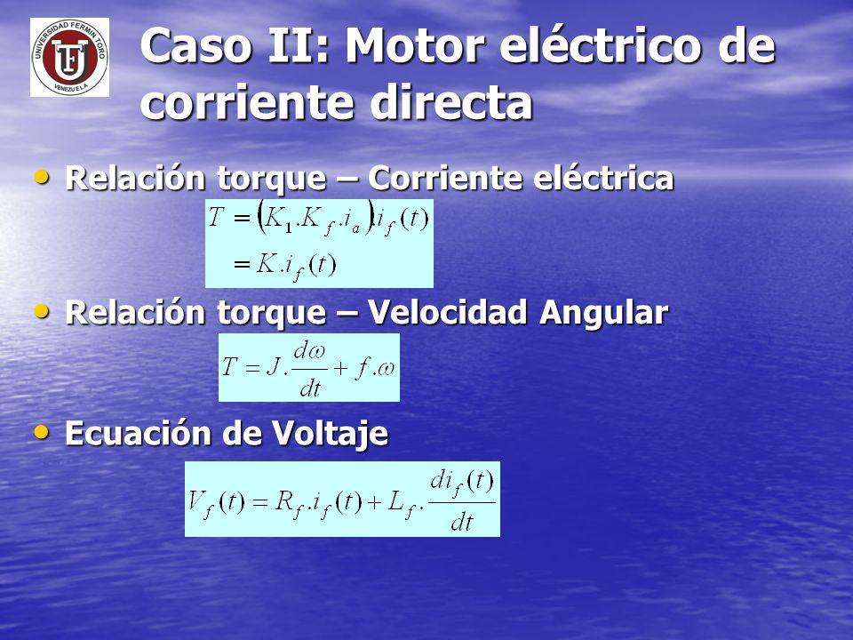 Caso II: Motor eléctrico de corriente directa Relación torque – Corriente eléctrica Relación torque – Corriente eléctrica Relación torque – Velocidad
