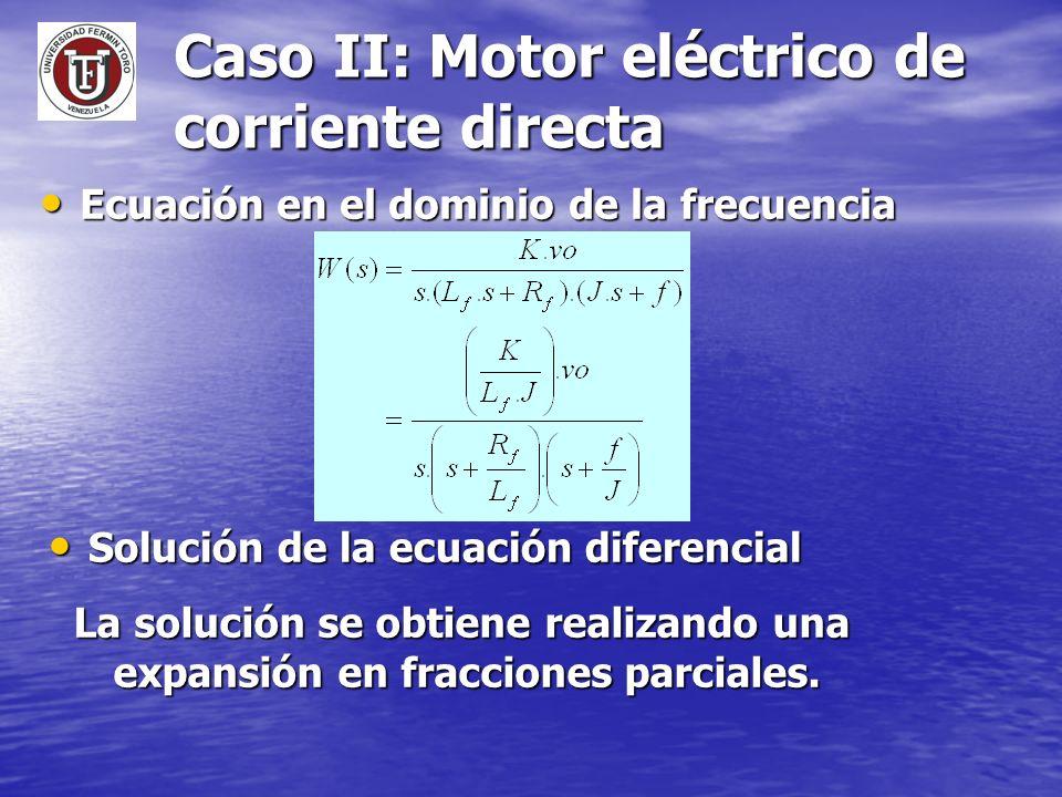 Caso II: Motor eléctrico de corriente directa Ecuación en el dominio de la frecuencia Ecuación en el dominio de la frecuencia Solución de la ecuación