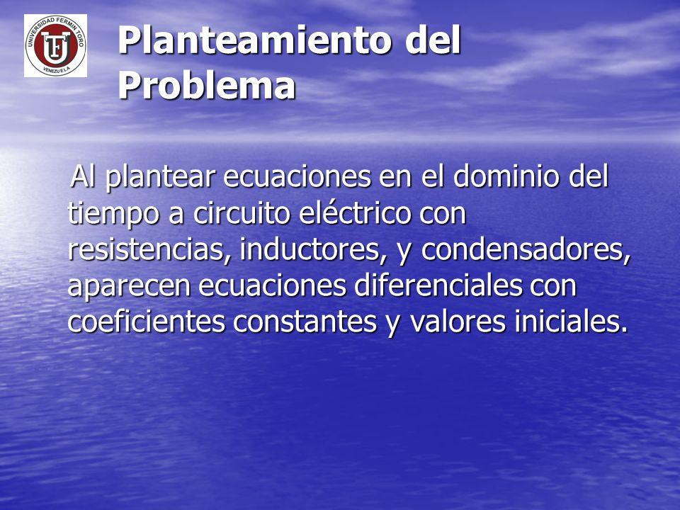 Planteamiento del Problema Al plantear ecuaciones en el dominio del tiempo a circuito eléctrico con resistencias, inductores, y condensadores, aparece