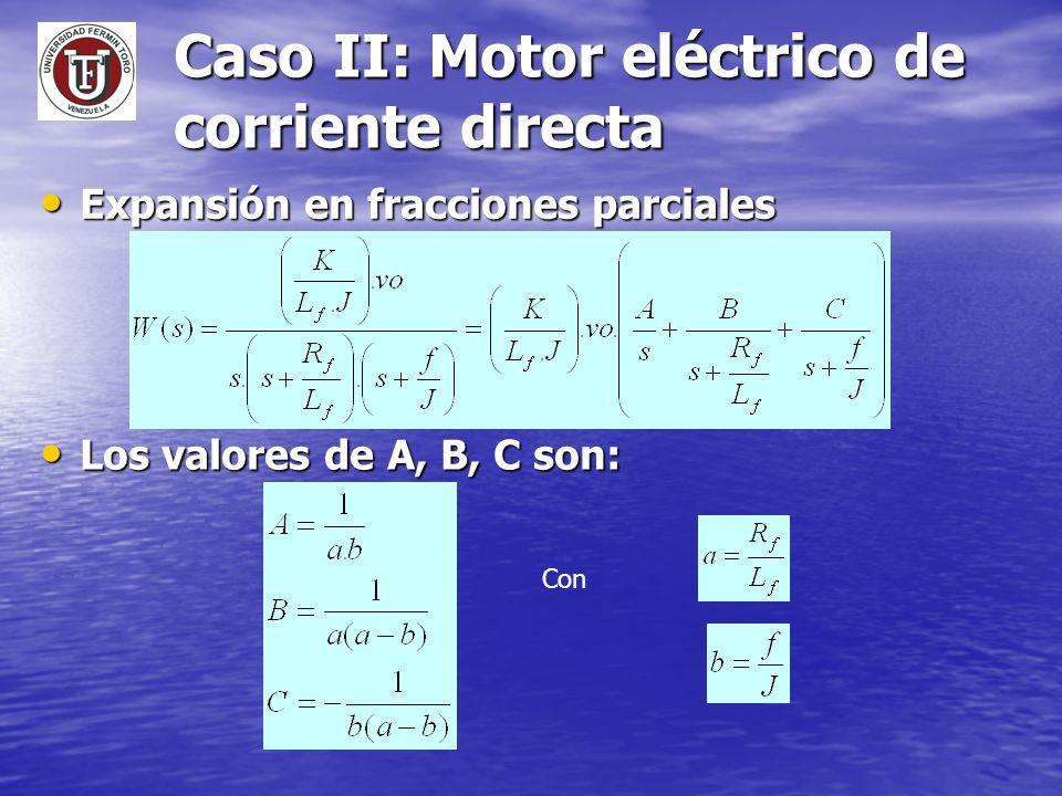 Caso II: Motor eléctrico de corriente directa Expansión en fracciones parciales Expansión en fracciones parciales Los valores de A, B, C son: Los valo