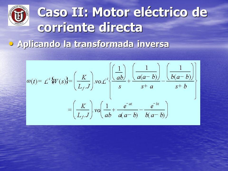 Caso II: Motor eléctrico de corriente directa Aplicando la transformada inversa Aplicando la transformada inversa