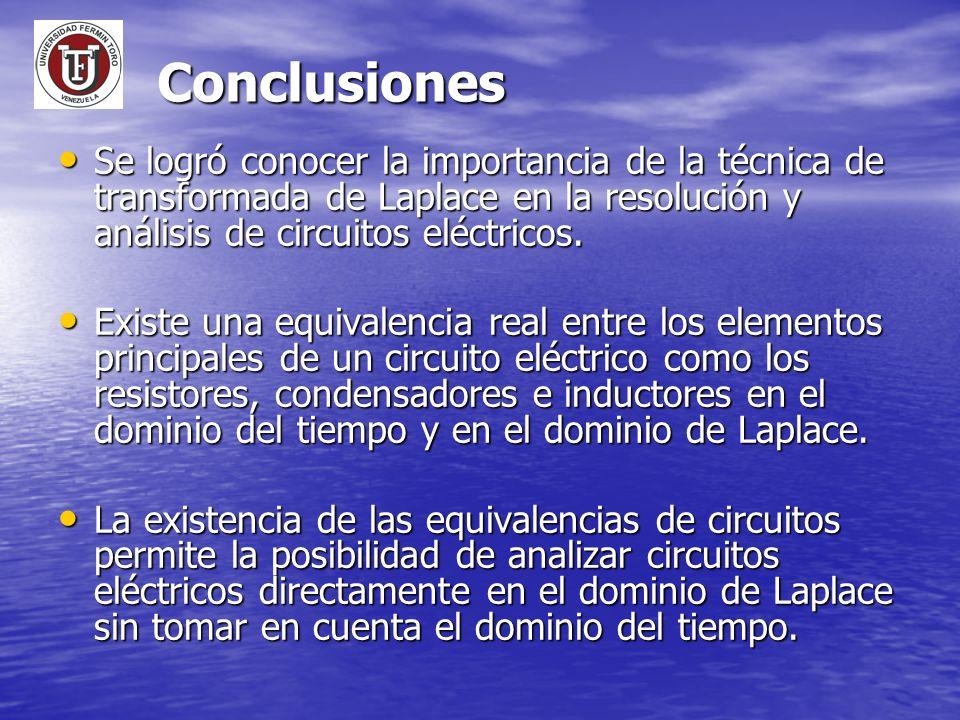 Conclusiones Se logró conocer la importancia de la técnica de transformada de Laplace en la resolución y análisis de circuitos eléctricos. Se logró co