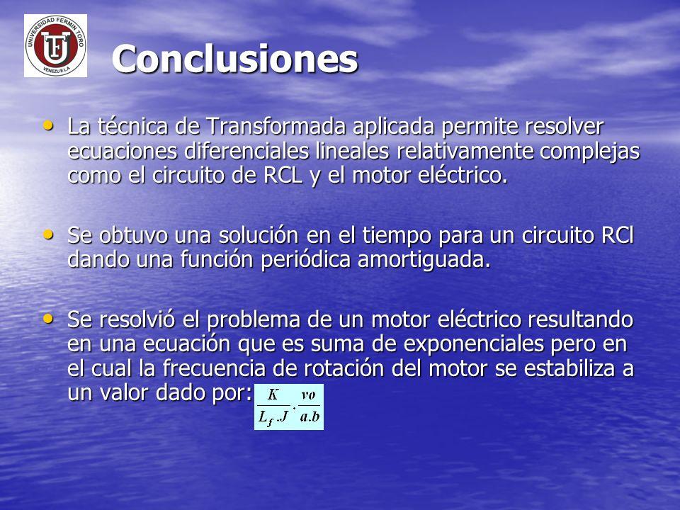 Conclusiones La técnica de Transformada aplicada permite resolver ecuaciones diferenciales lineales relativamente complejas como el circuito de RCL y