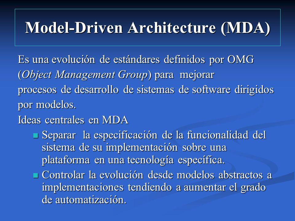 Model-Driven Architecture (MDA) Es una evolución de estándares definidos por OMG (Object Management Group) para mejorar procesos de desarrollo de sist