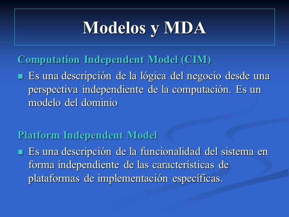 Modelos y MDA Computation Independent Model (CIM) Es una descripción de la lógica del negocio desde una perspectiva independiente de la computación. E