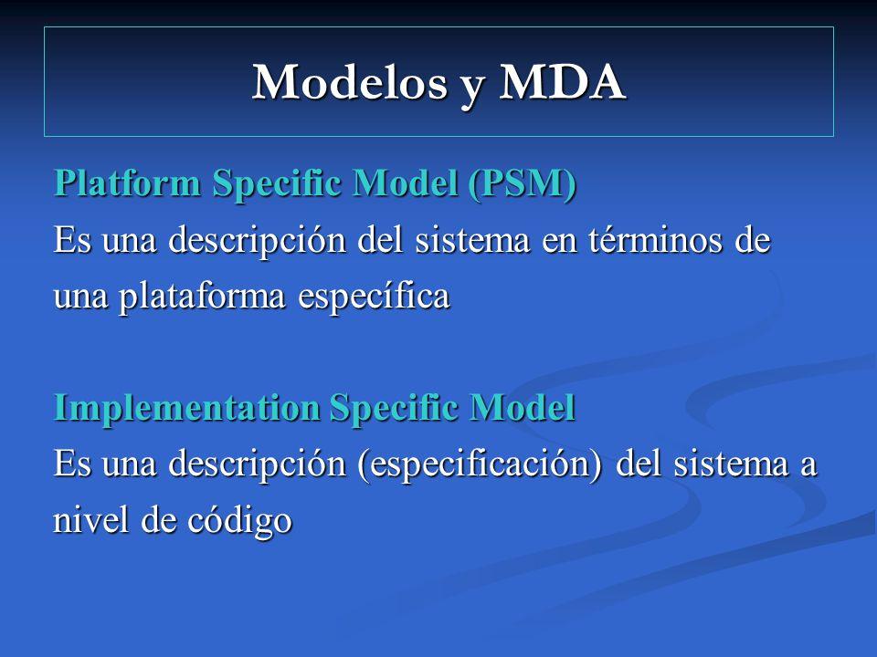 Modelos y MDA Platform Specific Model (PSM) Es una descripción del sistema en términos de una plataforma específica Implementation Specific Model Es u