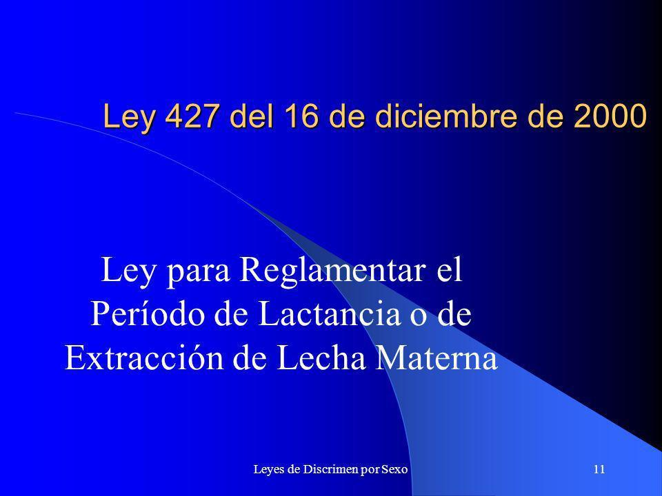 Leyes de Discrimen por Sexo11 Ley 427 del 16 de diciembre de 2000 Ley para Reglamentar el Período de Lactancia o de Extracción de Lecha Materna