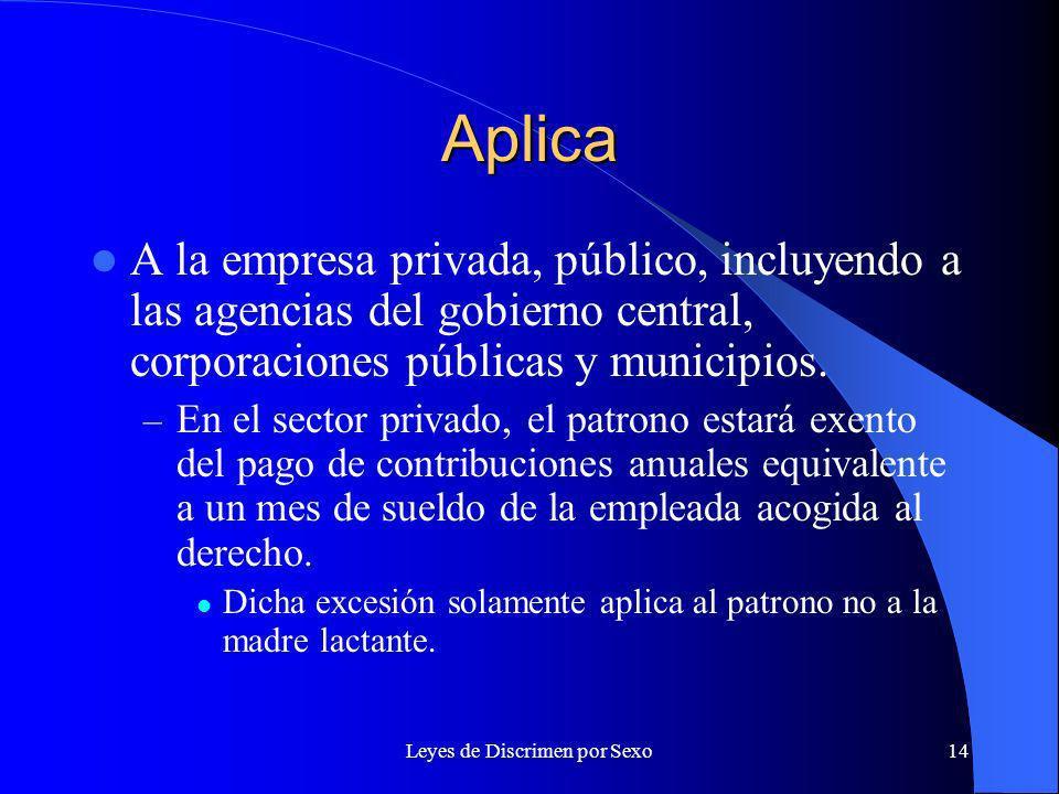 Leyes de Discrimen por Sexo14 Aplica A la empresa privada, público, incluyendo a las agencias del gobierno central, corporaciones públicas y municipios.