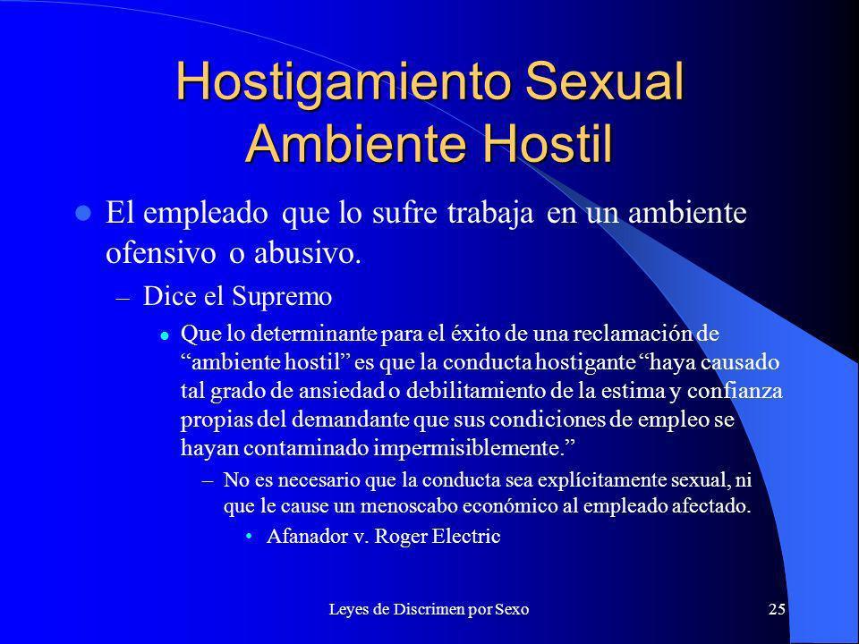 Leyes de Discrimen por Sexo25 Hostigamiento Sexual Ambiente Hostil El empleado que lo sufre trabaja en un ambiente ofensivo o abusivo.