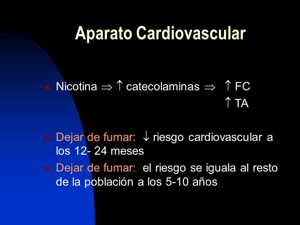 Acelera la arteriosclerosis HTA, colesterol, diabetes Enfermedad coronaria Accidentes cerebro-vasculares Arteriopatía periférica Muerte súbita Aparato