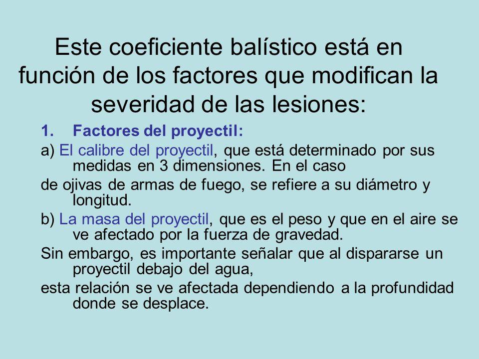 Este coeficiente balístico está en función de los factores que modifican la severidad de las lesiones: 1.Factores del proyectil: a) El calibre del pro