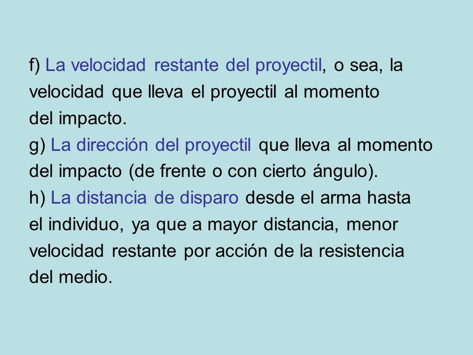 f) La velocidad restante del proyectil, o sea, la velocidad que lleva el proyectil al momento del impacto. g) La dirección del proyectil que lleva al