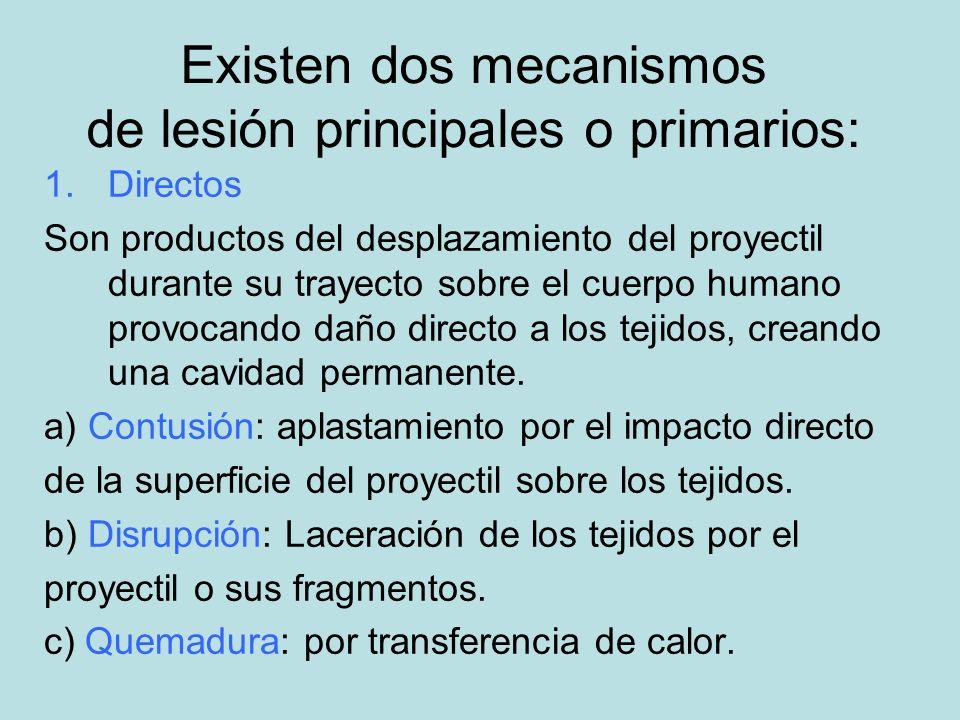 Existen dos mecanismos de lesión principales o primarios: 1.Directos Son productos del desplazamiento del proyectil durante su trayecto sobre el cuerp