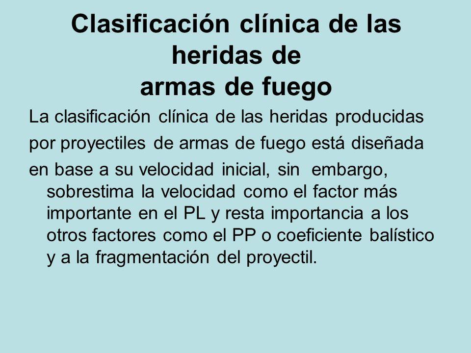 Clasificación clínica de las heridas de armas de fuego La clasificación clínica de las heridas producidas por proyectiles de armas de fuego está diseñ