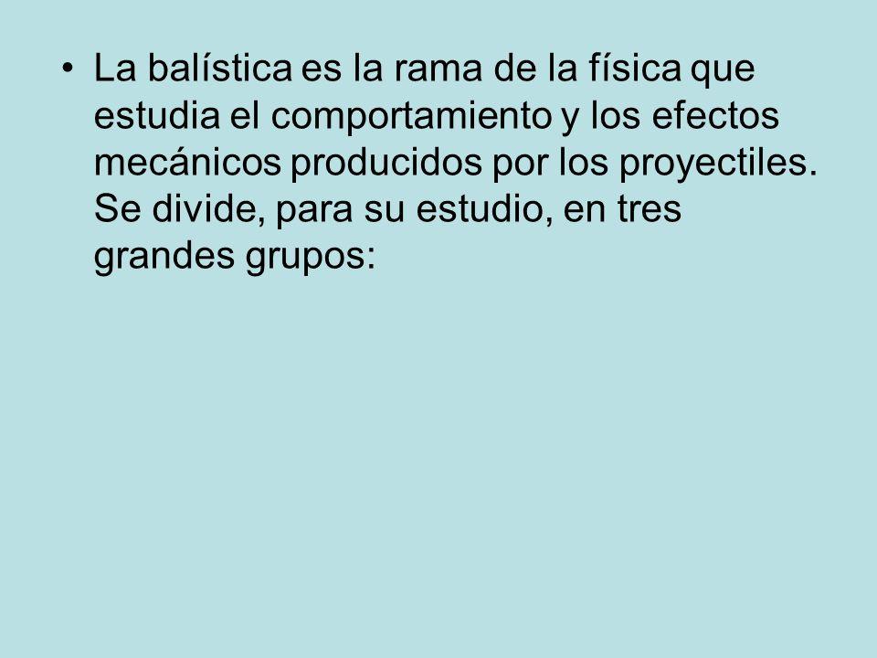 La balística es la rama de la física que estudia el comportamiento y los efectos mecánicos producidos por los proyectiles. Se divide, para su estudio,