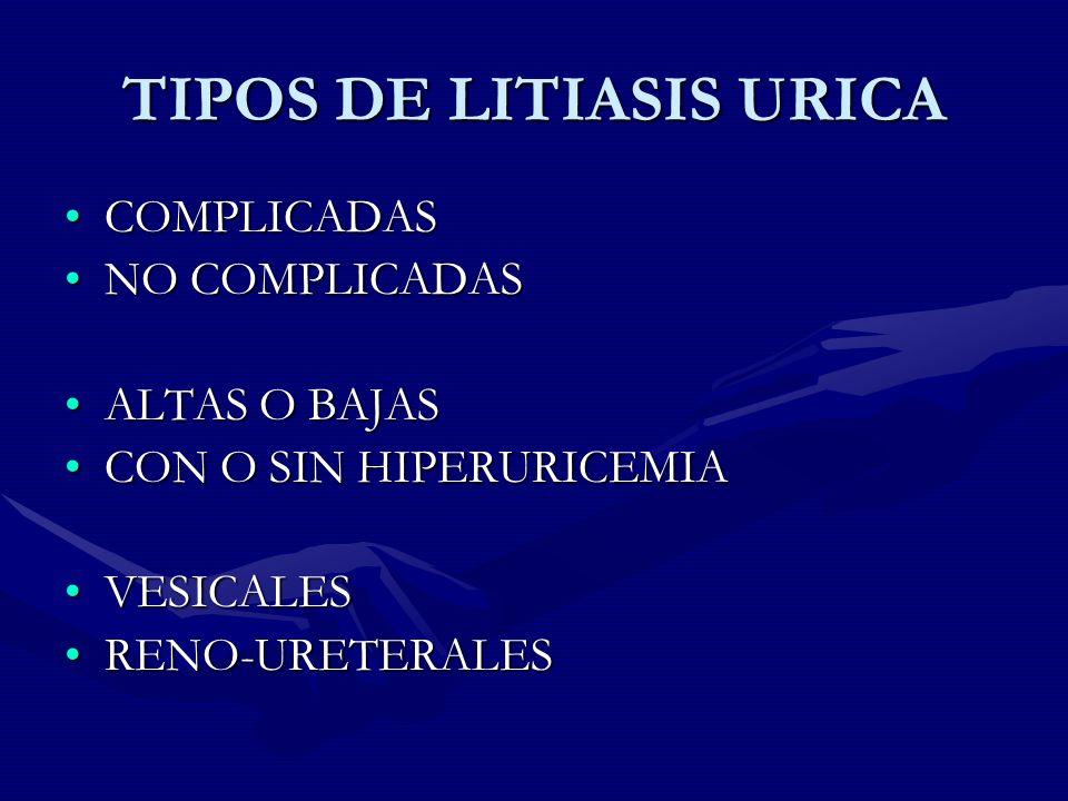TIPOS DE LITIASIS URICA COMPLICADASCOMPLICADAS NO COMPLICADASNO COMPLICADAS ALTAS O BAJASALTAS O BAJAS CON O SIN HIPERURICEMIACON O SIN HIPERURICEMIA