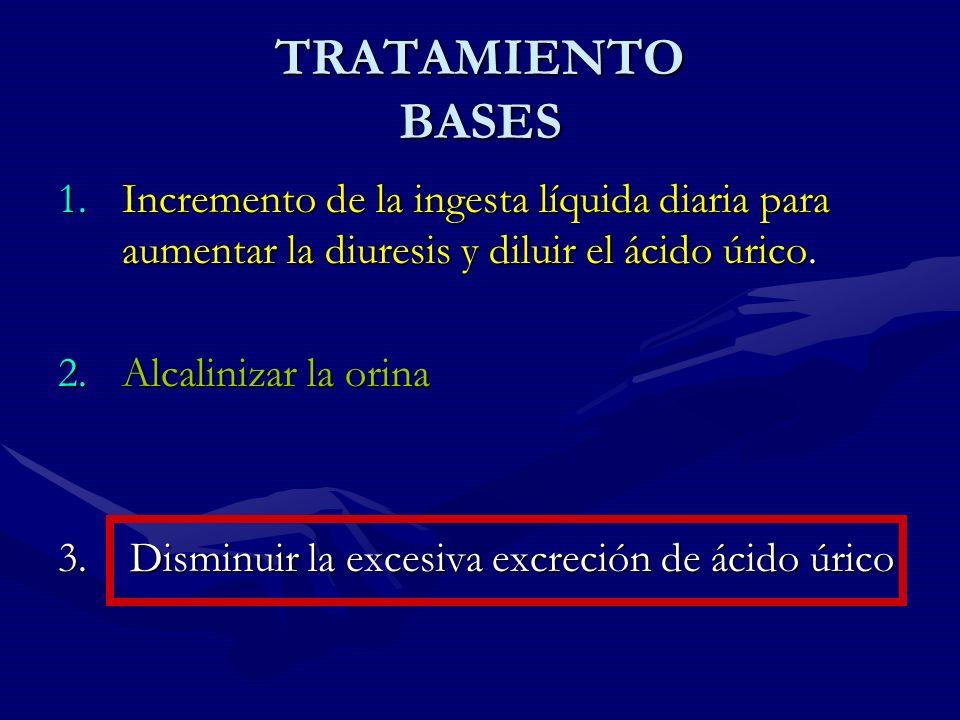 TRATAMIENTO BASES 1.Incremento de la ingesta líquida diaria para aumentar la diuresis y diluir el ácido úrico. 2.Alcalinizar la orina 3. Disminuir la