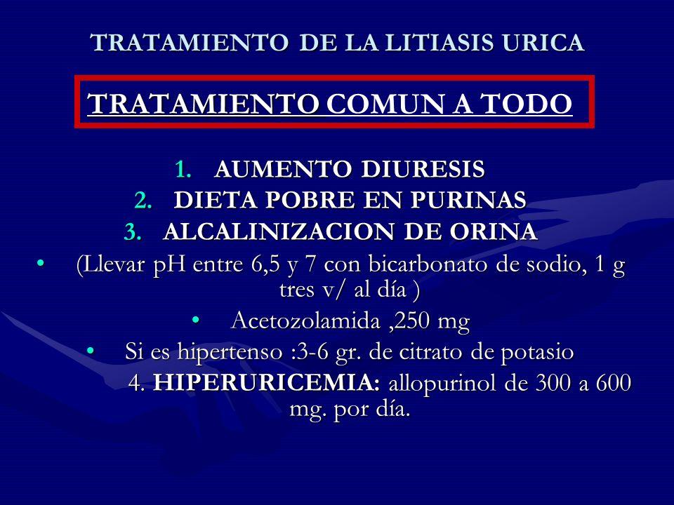 TRATAMIENTO DE LA LITIASIS URICA TRATAMIENTO TRATAMIENTO COMUN A TODO 1.AUMENTO DIURESIS 2.DIETA POBRE EN PURINAS 3.ALCALINIZACION DE ORINA (Llevar pH