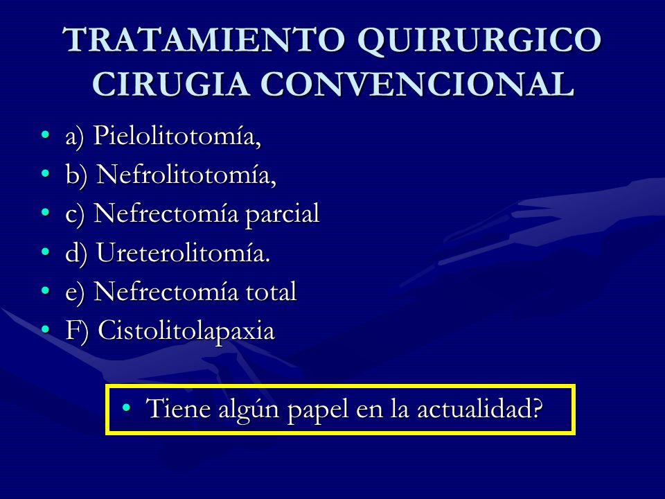 TRATAMIENTO QUIRURGICO CIRUGIA CONVENCIONAL a) Pielolitotomía,a) Pielolitotomía, b) Nefrolitotomía,b) Nefrolitotomía, c) Nefrectomía parcialc) Nefrect