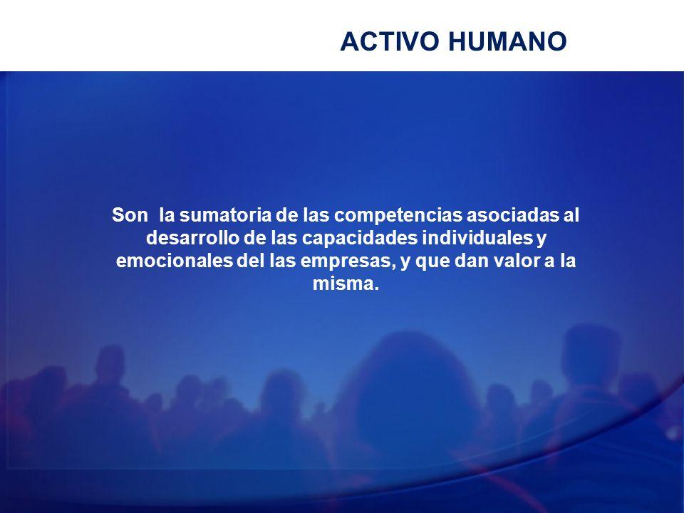 ACTIVO HUMANO Son la sumatoria de las competencias asociadas al desarrollo de las capacidades individuales y emocionales del las empresas, y que dan v