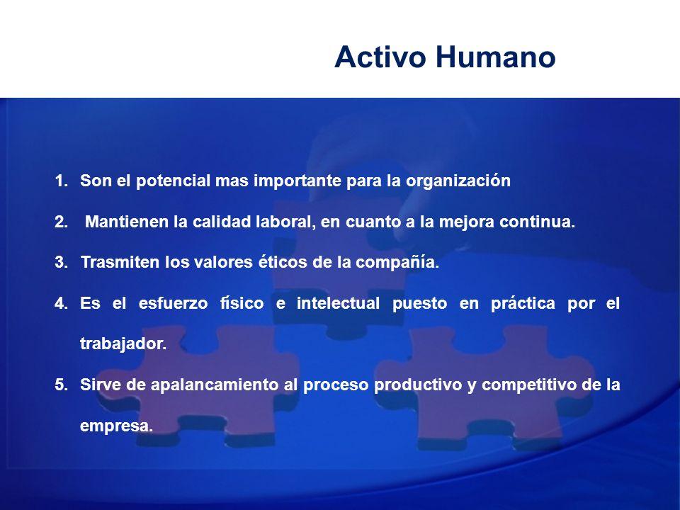 Activo Humano 1.Son el potencial mas importante para la organización 2. Mantienen la calidad laboral, en cuanto a la mejora continua. 3.Trasmiten los