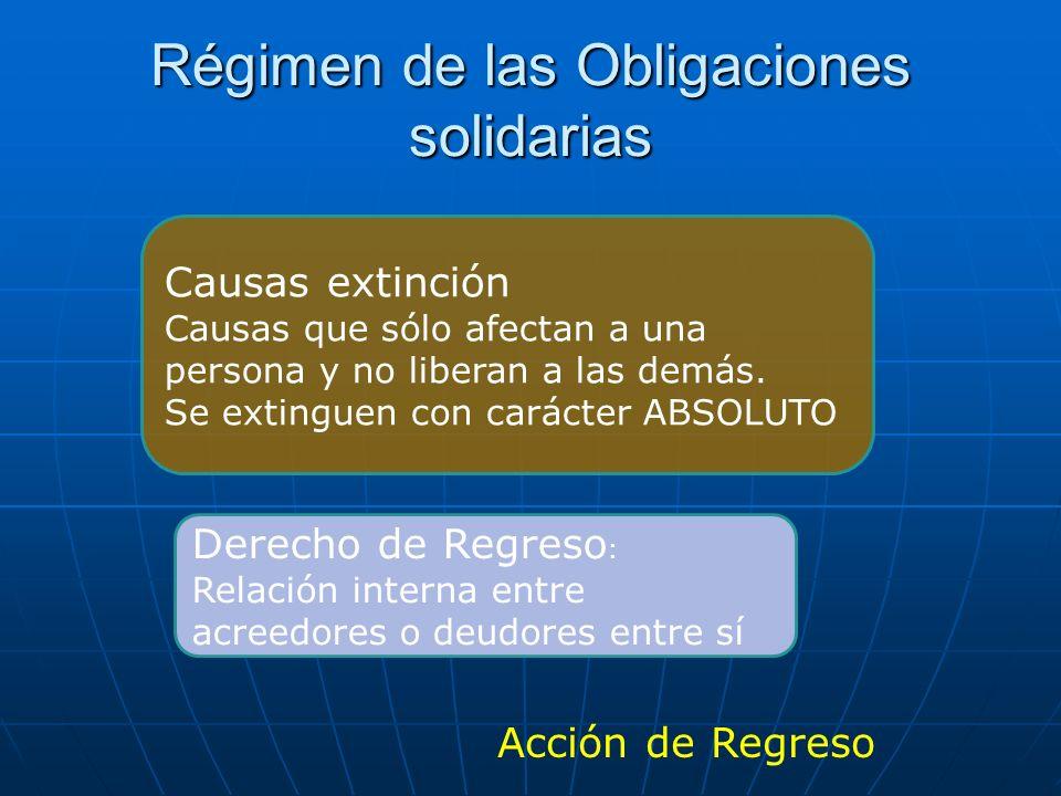 Régimen de las Obligaciones solidarias Acción de Regreso Derecho de Regreso : Relación interna entre acreedores o deudores entre sí Causas extinción C