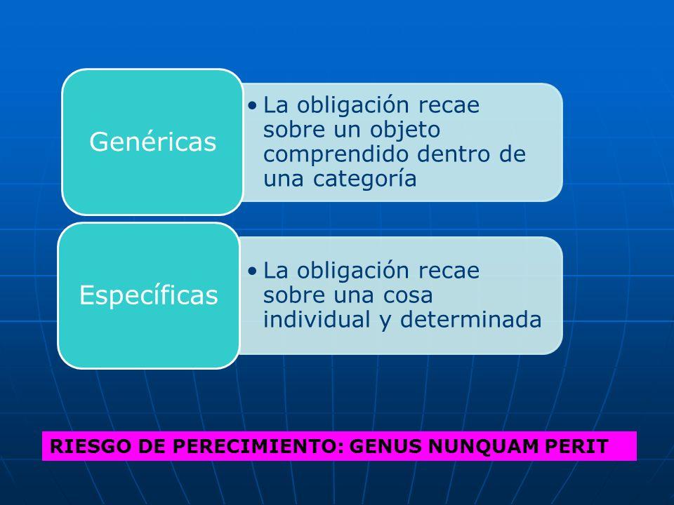 RIESGO DE PERECIMIENTO: GENUS NUNQUAM PERIT La obligación recae sobre un objeto comprendido dentro de una categoría Genéricas La obligación recae sobr
