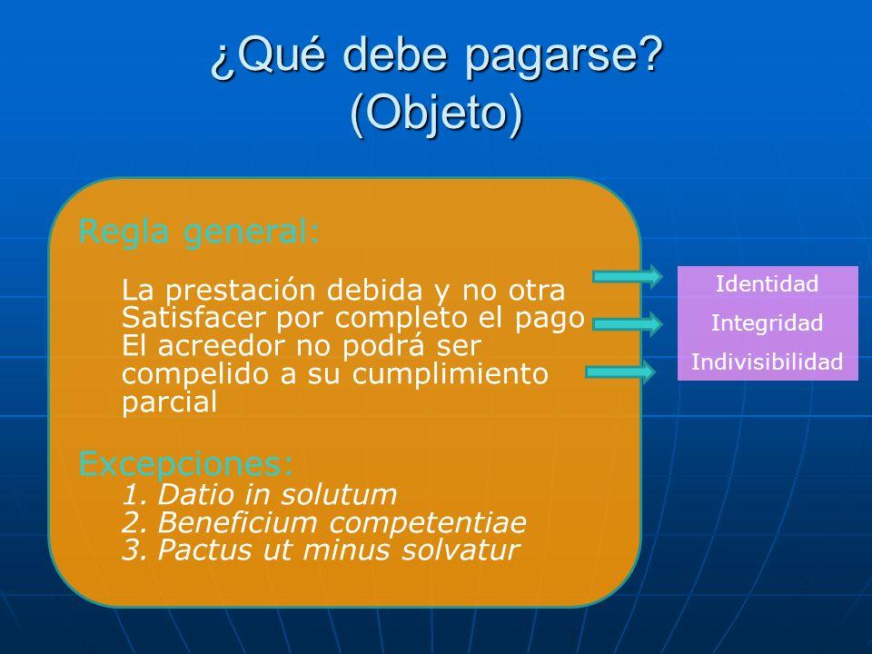 ¿Qué debe pagarse? (Objeto) Identidad Integridad Indivisibilidad Regla general: La prestación debida y no otra Satisfacer por completo el pago El acre
