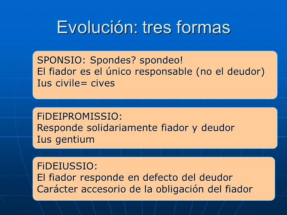 Evolución: tres formas SPONSIO: Spondes? spondeo! El fiador es el único responsable (no el deudor) Ius civile= cives FiDEIPROMISSIO: Responde solidari