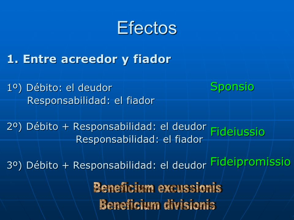 Efectos 1. Entre acreedor y fiador 1º) Débito: el deudor Responsabilidad: el fiador Responsabilidad: el fiador 2º) Débito + Responsabilidad: el deudor