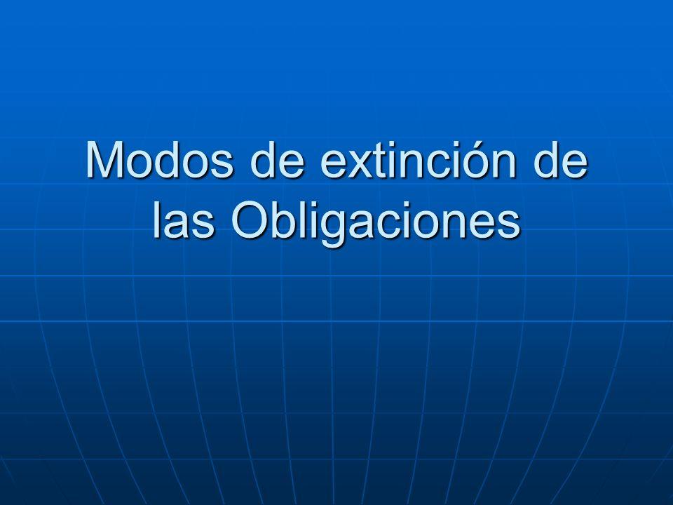 Modos de extinción de las Obligaciones