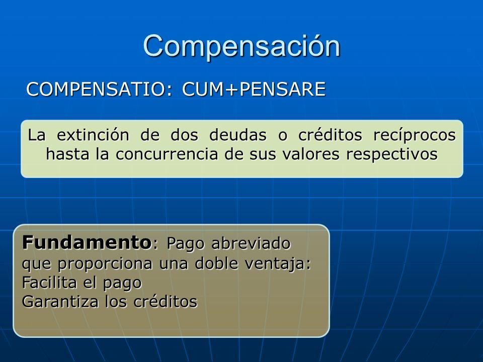 Compensación COMPENSATIO: CUM+PENSARE La extinción de dos deudas o créditos recíprocos hasta la concurrencia de sus valores respectivos Fundamento : P