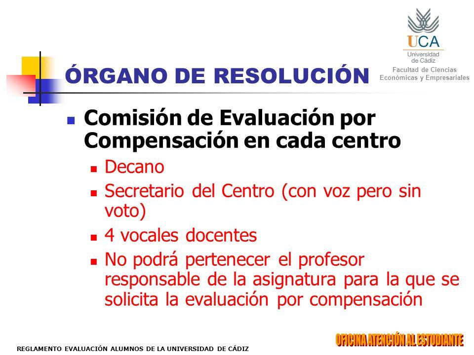 Facultad de Ciencias Económicas y Empresariales REGLAMENTO EVALUACIÓN ALUMNOS DE LA UNIVERSIDAD DE CÁDIZ ÓRGANO DE RESOLUCIÓN Comisión de Evaluación p