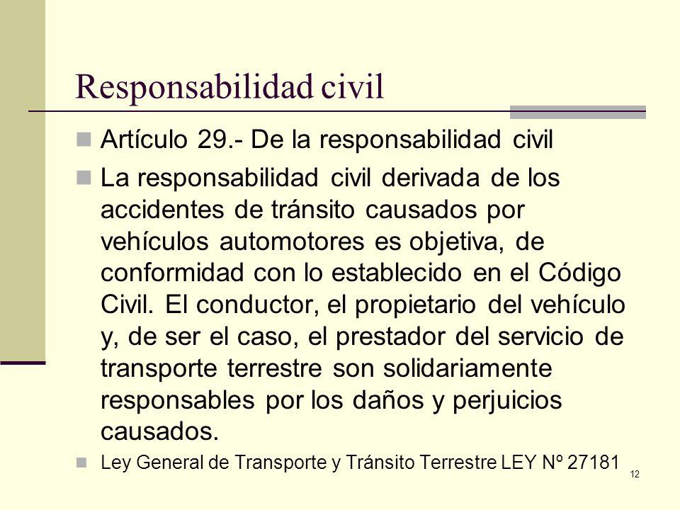 12 Responsabilidad civil Artículo 29.- De la responsabilidad civil La responsabilidad civil derivada de los accidentes de tránsito causados por vehícu