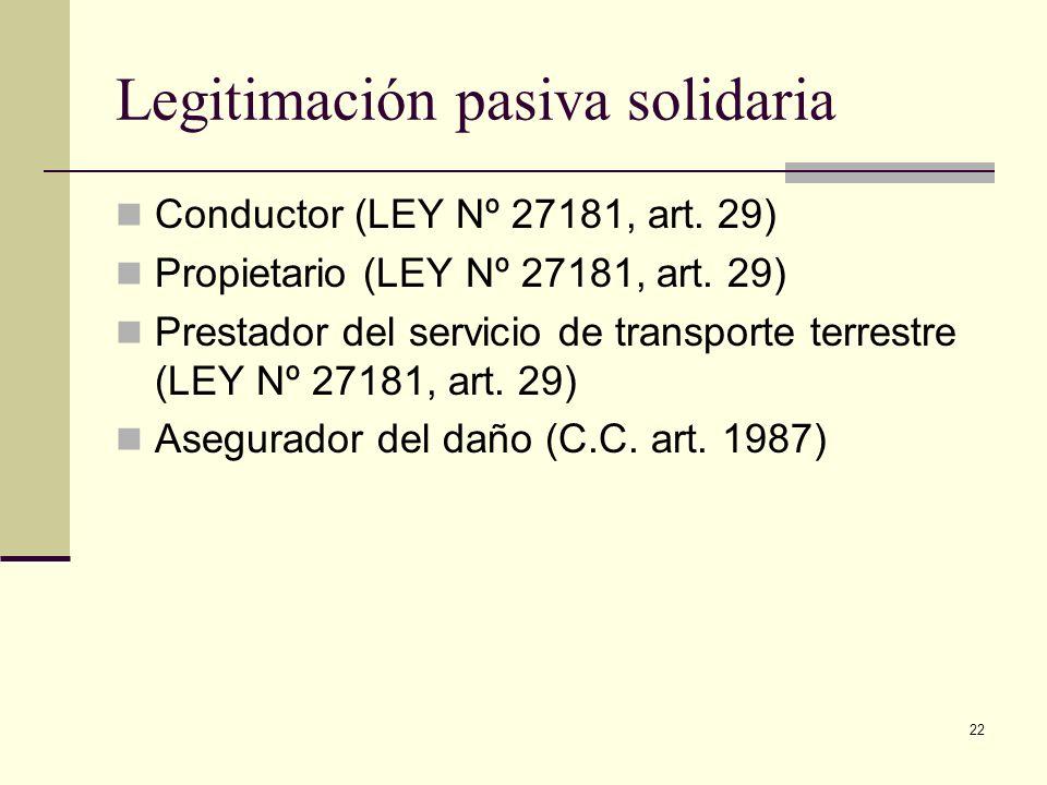 22 Legitimación pasiva solidaria Conductor (LEY Nº 27181, art. 29) Propietario (LEY Nº 27181, art. 29) Prestador del servicio de transporte terrestre