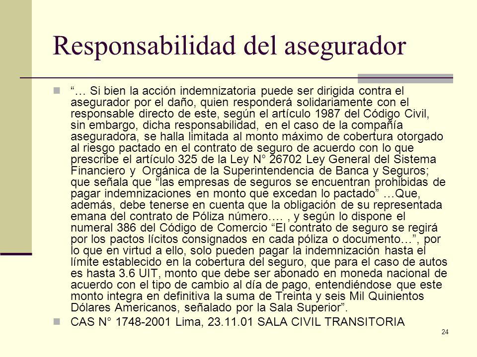 24 Responsabilidad del asegurador … Si bien la acción indemnizatoria puede ser dirigida contra el asegurador por el daño, quien responderá solidariame