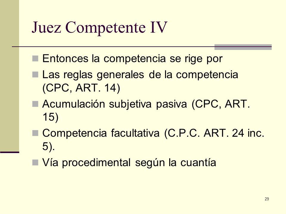 29 Juez Competente IV Entonces la competencia se rige por Las reglas generales de la competencia (CPC, ART. 14) Acumulación subjetiva pasiva (CPC, ART