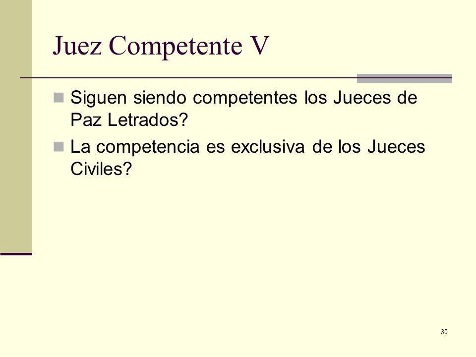 30 Juez Competente V Siguen siendo competentes los Jueces de Paz Letrados? La competencia es exclusiva de los Jueces Civiles?