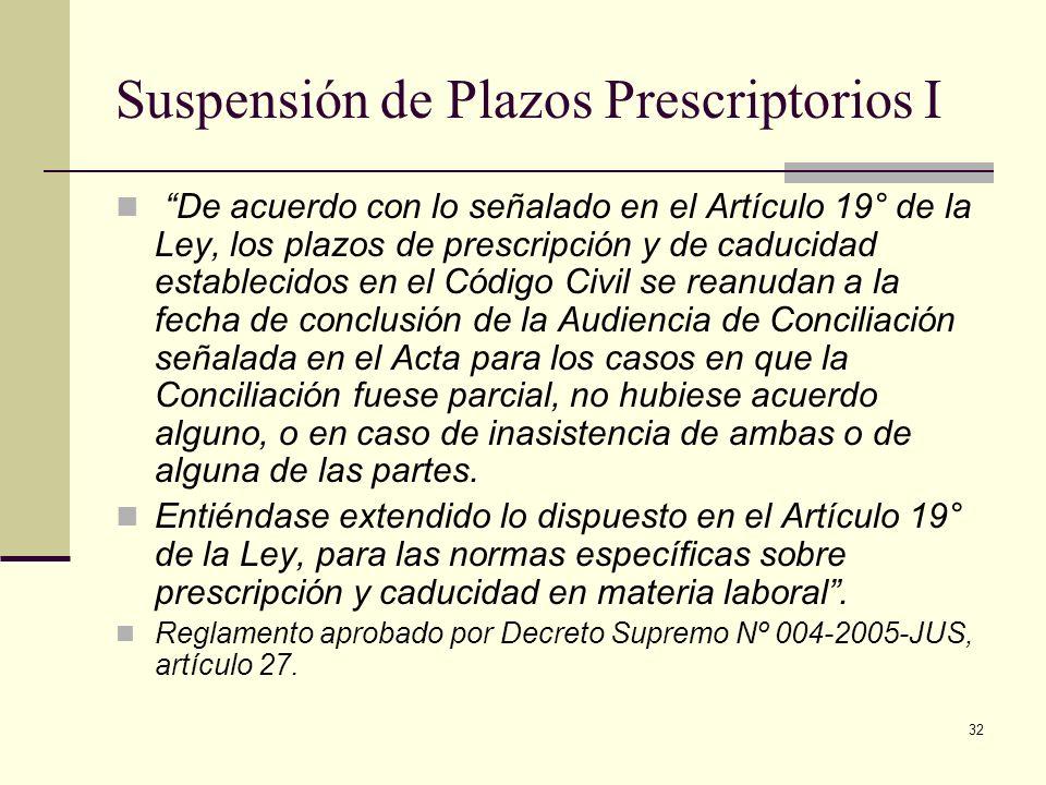 32 Suspensión de Plazos Prescriptorios I De acuerdo con lo señalado en el Artículo 19° de la Ley, los plazos de prescripción y de caducidad establecid