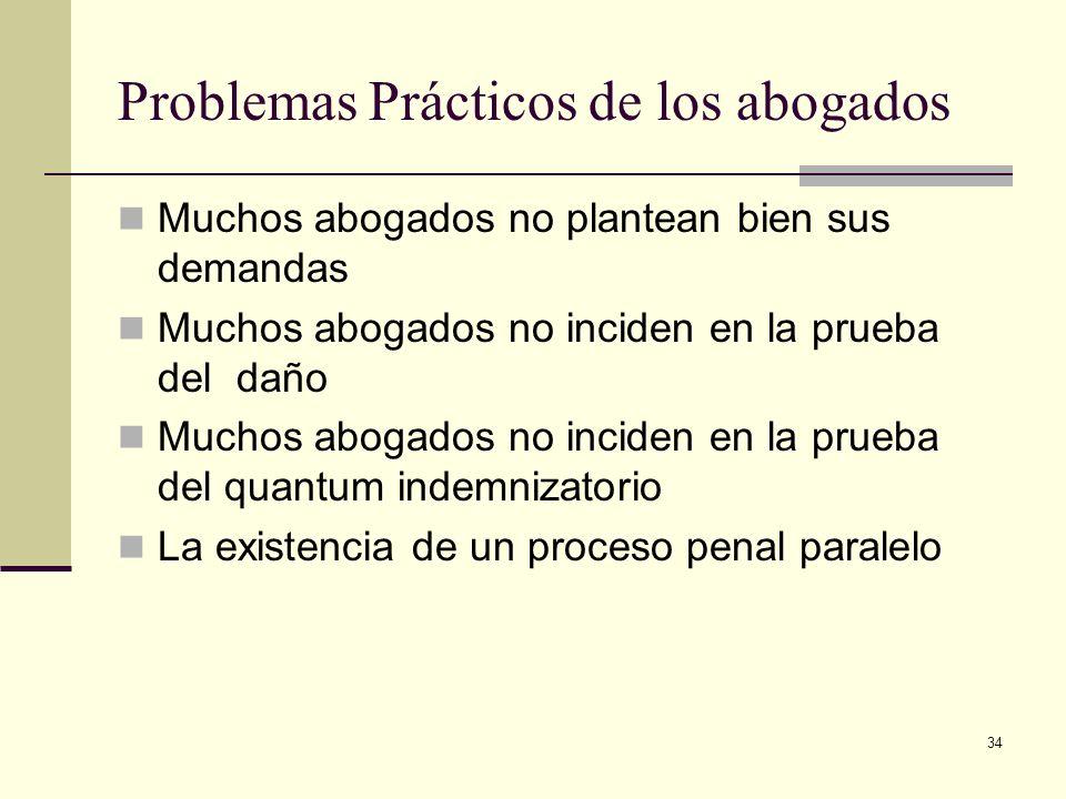 34 Problemas Prácticos de los abogados Muchos abogados no plantean bien sus demandas Muchos abogados no inciden en la prueba del daño Muchos abogados